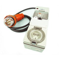 3 Phase To Single Phase Protected Adapter 5 Pin 20A Angled Plug to 3 Pin Flat 20A Socket