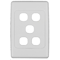 Clipsal 2035VH 5 Gang Light Switch Grid Plate and Cover 2000 Series