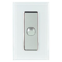 Tesla Crystal Range 1 Gang Light Switch Glasslook with White Cover