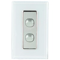 Tesla Crystal Range 2 Gang Light Switch Glasslook with White Cover