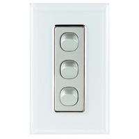 Tesla Crystal Range 3 Gang Light Switch Glasslook with White Cover
