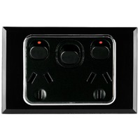 Tesla Crystal Range Double Power Point with Extra Switch Glasslook Black Cover