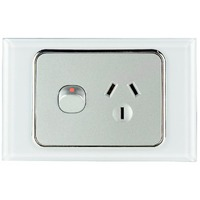Tesla Crystal Range Single Power Point Glasslook with White Crystal Cover