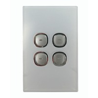 Opal Series LED Push Button 4 Gang Light Switch with Glass-Look Finish