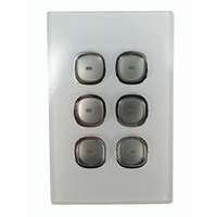 Opal Series LED Push Button 6 Gang Light Switch with Glass-Look Finish