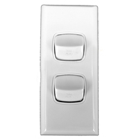 Powerclip 2 Gang ARCHITRAVE Light Switch - Double Pole 10 Amp