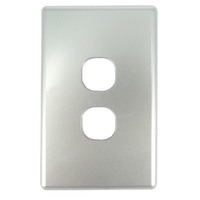 Tesla 2 Gang Light Switch Cover Only - Silver