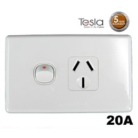 Power Point Single 240 V 20 Amp GPO Tesla Standard Series
