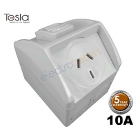Tesla Single Mini Weatherproof 10 Amp Power Point IP53