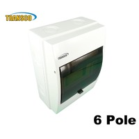 Transco 6 Way Pole Surface Mount Weatherproof Switchboard Load Centre Din Rail MCB IP66
