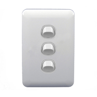 Transco 3 Gang Light Switch Wafer Slimline